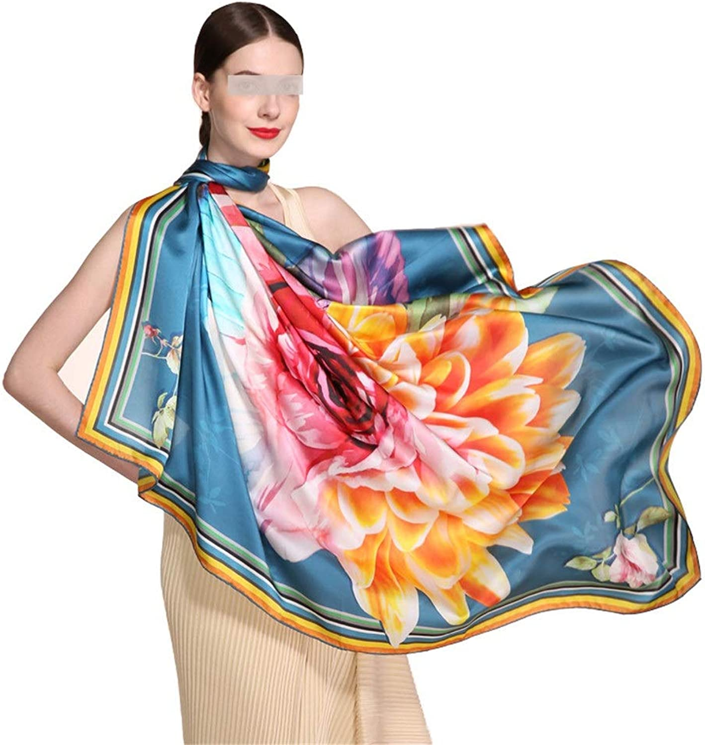 Women's 100% Silk Hand Curling Print Scarf Spring and Autumn Winter Sunscreen Gift Silk Scarf