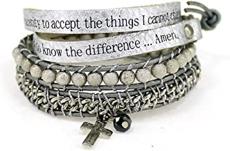 4031302 Serenity Prayer Leather Wrap Bracelet Woven Beads AA One Day At A Time NA