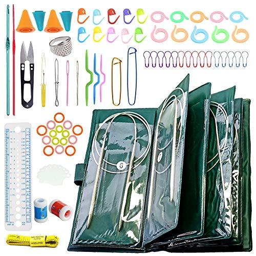 Anyasen Kit Aiguilles Circulaires 11 Pièces 80cm Aiguilles à Tricoter Circulaire Aiguilles Circulaires à Tricoter en Acier Inoxydable avec 73 pièces Outils de Tricoter, Taille 1,5 à 5 mm