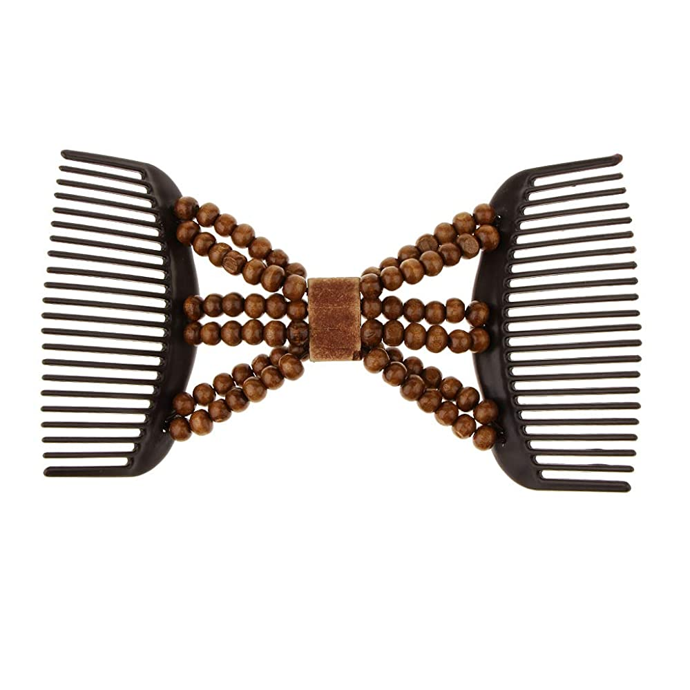 お酢雪だるまアスリートFLAMEER ヘアコーム ヘアクリップ ヘアアレンジ 髪櫛 ビーズ 髪留め 髪型ツール 装飾 全2色 - コーヒー