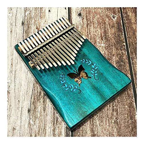 Kalimba, Daumenklavier 17 Keys Kalimba Finger Daumenklavier Blau Schmetterling Muster Acoustic Mbira festen Mahagoniholz Tasteninstrument mit Zubehör-Set Kit