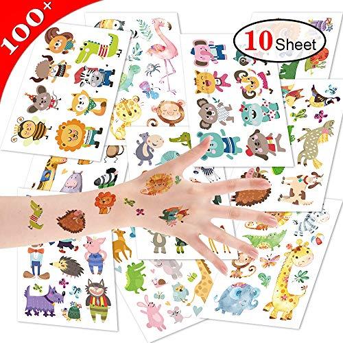 Aokebeey 100 STÜCKE Cartoon Tiere Tattoos Kinder Set, Tiger & Flammenvogel Temporäre Tattoos Kinder Aufkleber Sticker für Mitgebsel Kindergeburtstag, Geburtstags Mitgebsel Junge (10 Sheet)
