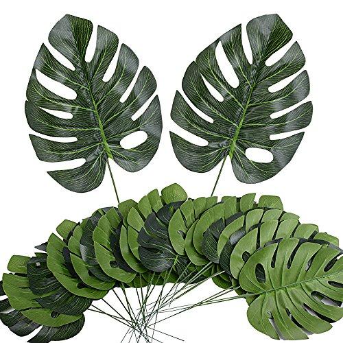 24pcs Hoja de Palma Tropical Artificial Falsa de Imitación Hawaiana Luau Party Selva Playa Tema Decoraciones de Fiesta Boda