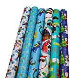 Bundle of 6 Rolls of 30 Christmas Holiday Childrens Gift-wrap Wrapping Paper, Dinosaurs, Toucan Birds, Penguins, Santa Clause, Reindeer