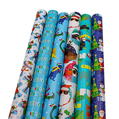"""Bundle of 6 Rolls of 30"""" Christmas Holiday Children's Gift-wrap Wrapping Paper, Dinosaurs, Toucan Birds, Penguins, Santa Clause, Reindeer"""