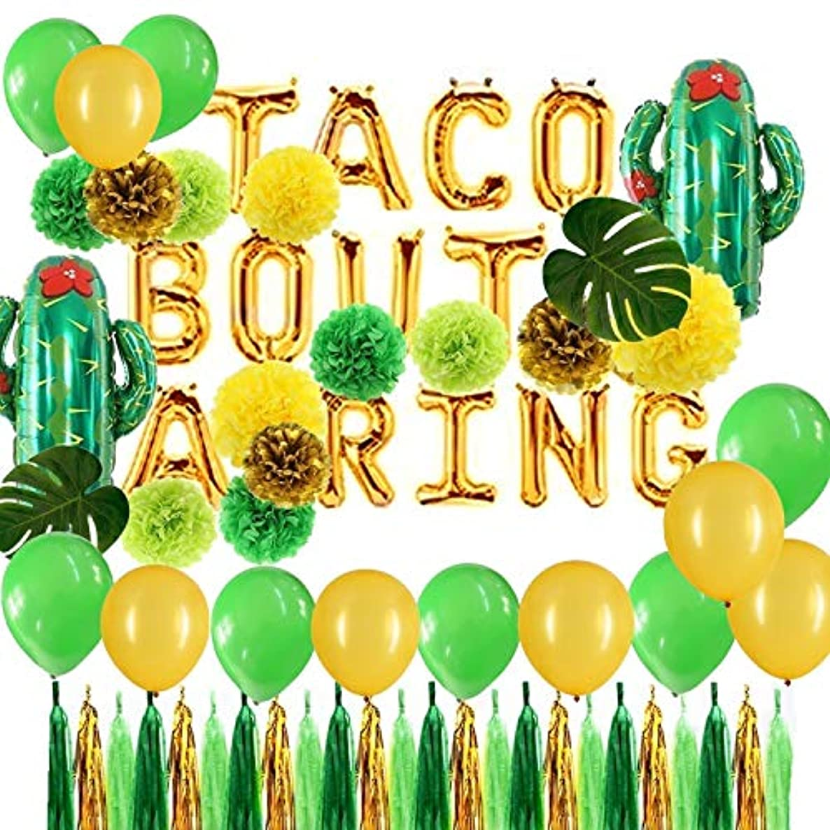 urwonderbox Green and Gold Taco Bout a Ring Foil Cactus Balloons and Tissue Pom Poms Flowers Set Fiesta Party Theme Bridal Shower Wedding Announcement Ideas Mexican Fiesta Theme Supplies