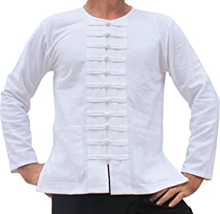 Raan Pah Muang RaanPahMuang Round Collar Asian Sailors Many Button Thick Cotton Shirt