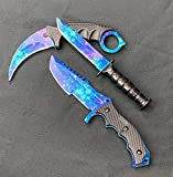 Falcon CSGO Tactical Fixed Blade Set. 3 PCS Tactical Daggers. 2 Different Combo. for Collection, Gift, and Outdoors Camping Cut Ropes, Branches (Blue-Stars)