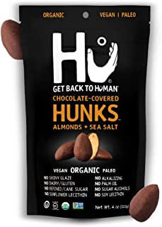 Hu Hunks Vegan Chocolate Covered Almonds With Sea Salt | 6 Pack | Non-GMO, Gluten Free, Paleo, Organic Dark Chocolate