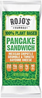 Rojo's Famous 100% Plant-Based Frozen Pancake Breakfast Sandwich (Pack of 12)/Mexican Chipotle & Tomato Cayenne Cheese Wrapped Inside A Freshly Made, Vegan Pancake/A Healthy Breakfast Alternative