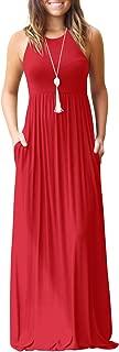 Fantastic Zone Women's Sleeveless Racerback Loose Plain Maxi Dresses Casual Long Dresses with Pockets