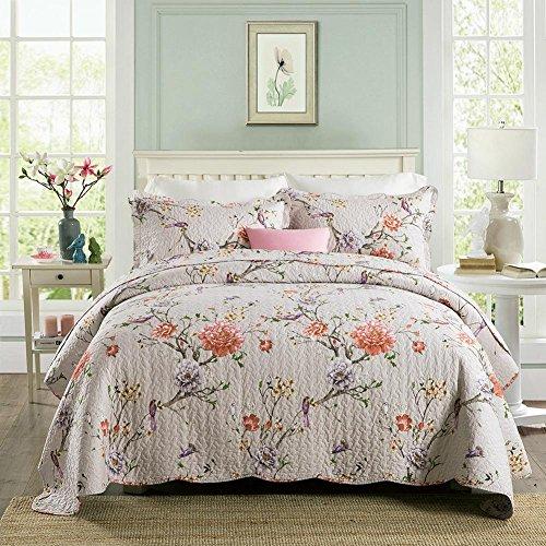 WYFC Confortable 2pcs Shams 1pc Courtepointe Plaine 100% Coton matelassé Floral Multi Couleur b 230 * 250cm
