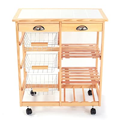 Kitchen  Dining Room Cart 2-Drawer Removable St...