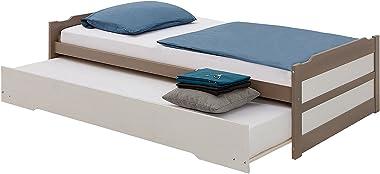 IDIMEX Lit gigogne Lorena 1 Personne tiroir lit Fonctionnel 90 x 190 cm pin Massif lasuré Taupe et Blanc