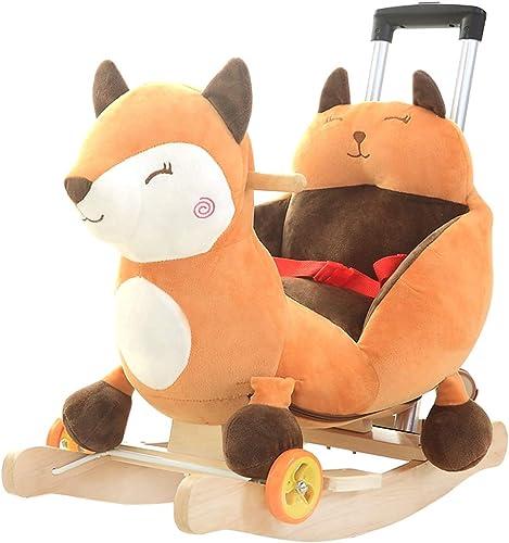 Cheval de bébé à Bascule bébé bébé avec Musique Chaise à Bascule bébé Jouet avec Barre de poussée berceaux à Bascule 60  28  60 cm Rollsnownow