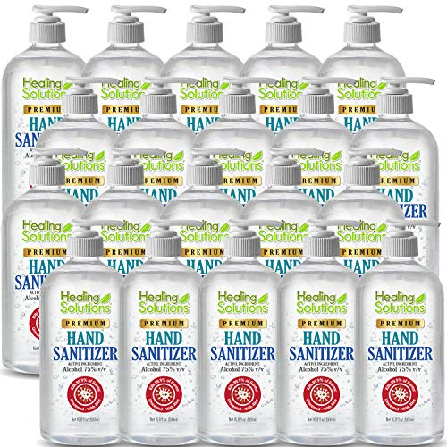 Hand Sanitizer Gel (20 Pack x 16.9oz) - 75% Alcohol - Kills 99.99% of Germs - Scent Free Antibacterial Gel with Vitamin E & Aloe for Moisturizing