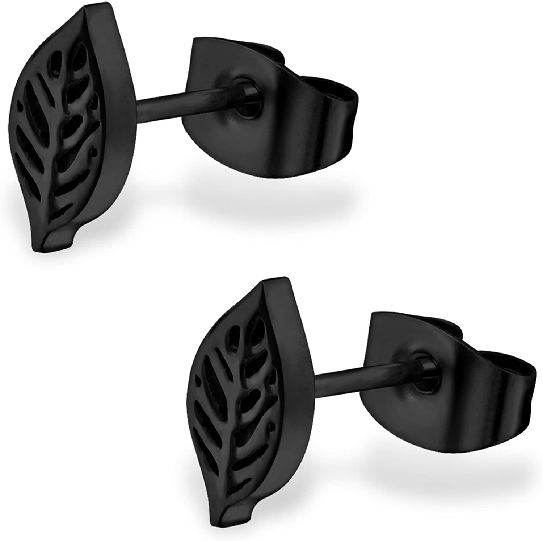 Stainless Steel Tiny Nature Leaf Stud Post Earrings