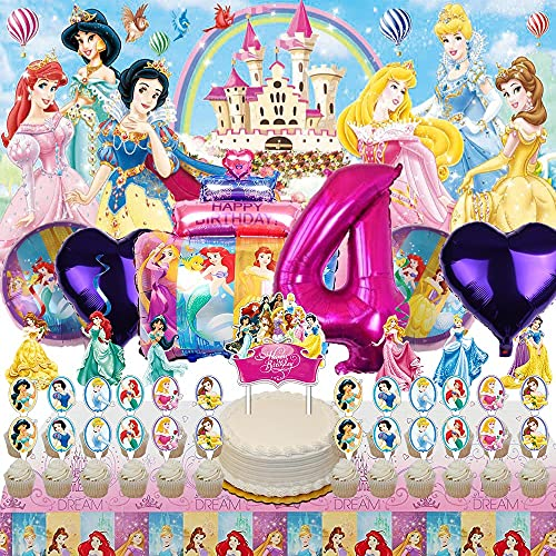 Disney Princess 4th Party Supplies Decorations 4 Years Old Balloons Banner Backdrop Birthday Decor