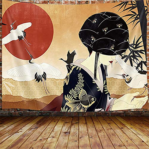 """Japanese Geisha Anime Tapestry, Asian Women Decor Red Sun Bamboo Tapestry Wall Hanging for Bedroom, Trippy Art Tapestry Beach Blanket College Dorm Home Decor (71""""W X 60""""H)"""