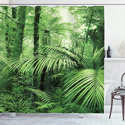 ABAKUHAUS Natur Duschvorhang, Palmen exotische Pflanzen, mit 12 Ringe Set Wasserdicht Stielvoll Modern Farbfest & Schimmel Resistent, 175x220 cm, Grün