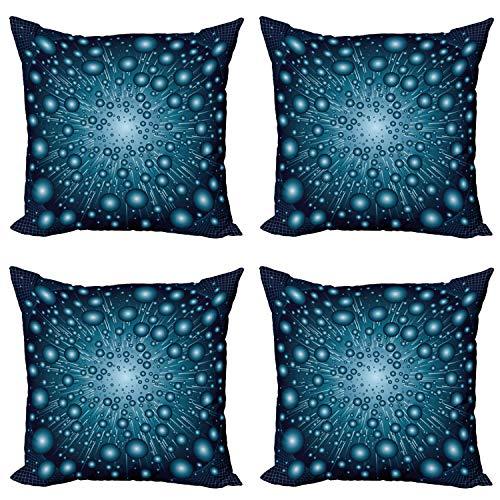 ABAKUHAUS Azul Set de 4 Fundas para Cojín, Galaxy Energía futurista, Estampado Digital en Ambos Lados y Cremallera, 60 cm x 60 cm, Azul Petróleo