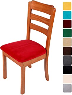 smiry Original Velvet Dining Chair Seat Covers, Stretch Fitted Dining Room Upholstered Chair Seat Cushion Cover, Removable Washable Furniture Protector Slipcovers with Ties - Set of 2, Red