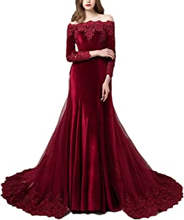 85d9a007e17 LEJY Vintage Long Sleeves Velvet Evening Gown Off The Shoulder Wedding Dress  with Detachable Train