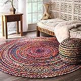 nuLOOM Tammara Boho Cotton Hand Braided Area Rug, 6' Round, Multi