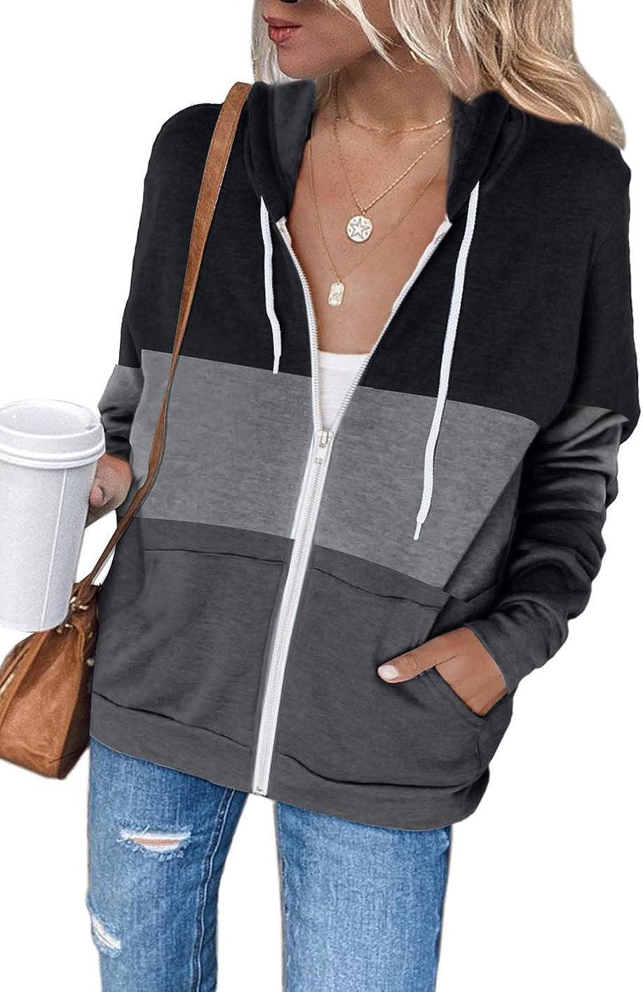 Shawhuwa Womens Long Sleeve Hooded Sweatshirt Hoodies Zip Up Track Jacket with Pockets