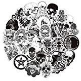 Gothic Skull Stickers for Laptops, 50PCS No Repeat Removable Vinyl Stickers for Water Bottle, Skateboard, Luggage, Phone Case, Notebook, Dark Aesthetic Decal Stickers (Skull)