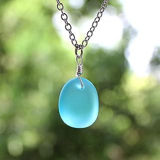 Mare Collana in Vetro, Pendente in vetro blu mare, Gioielli in vetro di mare coltivato con orecchini di vetro marino, Turc...
