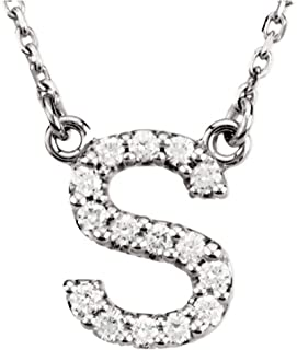 Dazzlingrock Collection 0.12 Carat (ctw) 14K Diamond Uppercase Letter 'A' to 'Z' Initial Pendant (Silver Chain Included), White Gold
