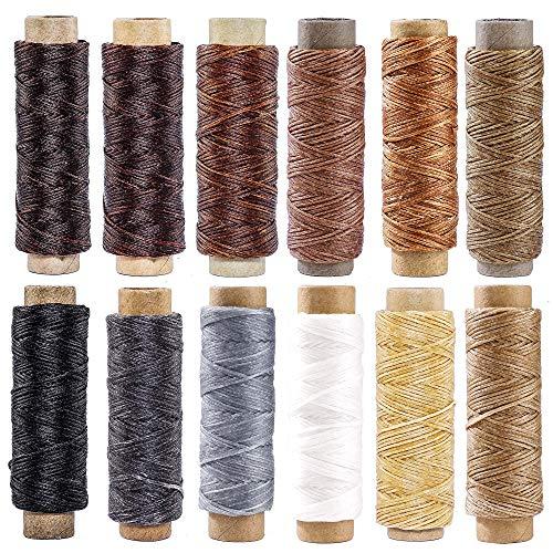 Cuero Hilo de Hilo Encerado 360m 150D Hilo de Costura de Costura para Artesanía en Cuero Artesanía de Costura DIY 12 Colores Cada Rollo de 30m
