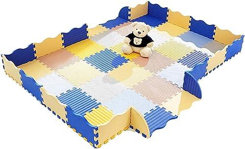 LFY Baby Puzzle Spielmatte mit Zaun, 0,55 Dicke ineinandergreifende Schaumbodenfliesen (Größe   18 Piece+18 Fence)