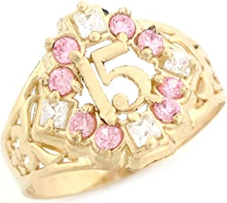 Jewelry Liquidation 10k Yellow Gold CZ Quinceanera 15 Anos Simulated Birthstone Ring