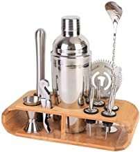 12 PCS Bartender Kit Cocktail Shaker kit with Bamboo Stand Martini Spirits Maker Bar Strainer Barware Kit