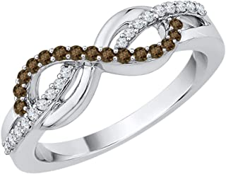 KATARINA Cognac and White Diamond Infinity Ring in 10K Gold (1/5 cttw, J-K, SI2-I1)