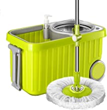 JUAN Stainless Steel Deluxe 360 Spin Mop & Bucket Floor Cleaning System Included,Double drive rotary mop bucket hand press...