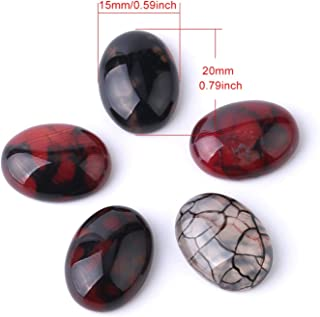 Oval Red Dragon Veins Cabochon Beads Pebble for Handcrafted Jewelry Making Accessories Stone 15x20/18x25/25x35mm,W2,15x20mm