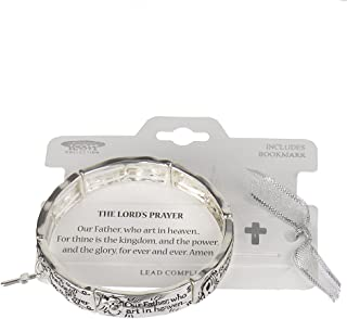 The Lord's Prayer Cross Charm Hammered Stretch Bracelet Our Father, who art