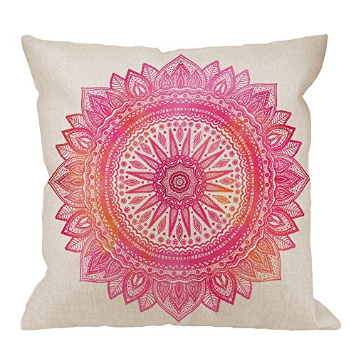 HGOD DESIGNS Throw Pillow Cover Pink Watercolor Mandala Indian Motif Ornate Round Ornament Sun Flower Home Decorative Pillow Cases Cotton Linen Square Cushion Covers for Sofa Couch 18x18 Inch