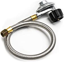 SHINESTAR 21-inch Right Angle Stainless Steel Braided Propane Hose and Regulator Replacement for Weber Gas Grill - 3/8 Female Flare Fitting, CSA
