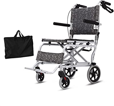 MS Wheelchair - Lightweight Folding Elderly Wheelchair Portable Aluminum Alloy Elderly Travel Trolley Size -88x52x90cm