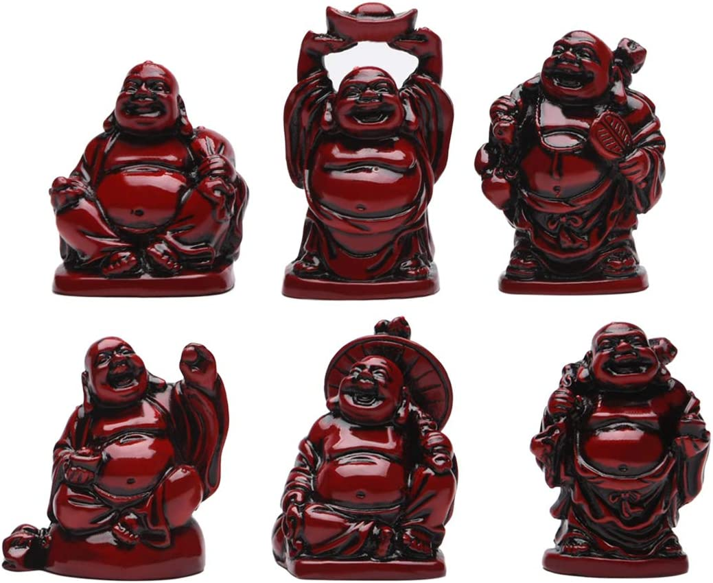 Feng Shui 2in Red Resin Laughing Buddha Statue Figurines Set of