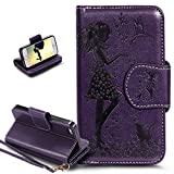 iPhone 5S Case,iPhone 5 Case,iPhone SE Case,ikasus Embossing Floral Flower Girl Cat Birds PU Leather Fold Wallet Pouch Flip Stand Credit Card ID Holders Case Cover for iPhone 5S / 5 & iPhone SE,Purple