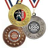 Trophy Monster Paquete de 10 medallas y cintas de metal de 50 mm con diseño de estrella de karate y emblema estándar o tu logotipo, personalizable, paquete a granel, cantidad de 50,100,250 o 500