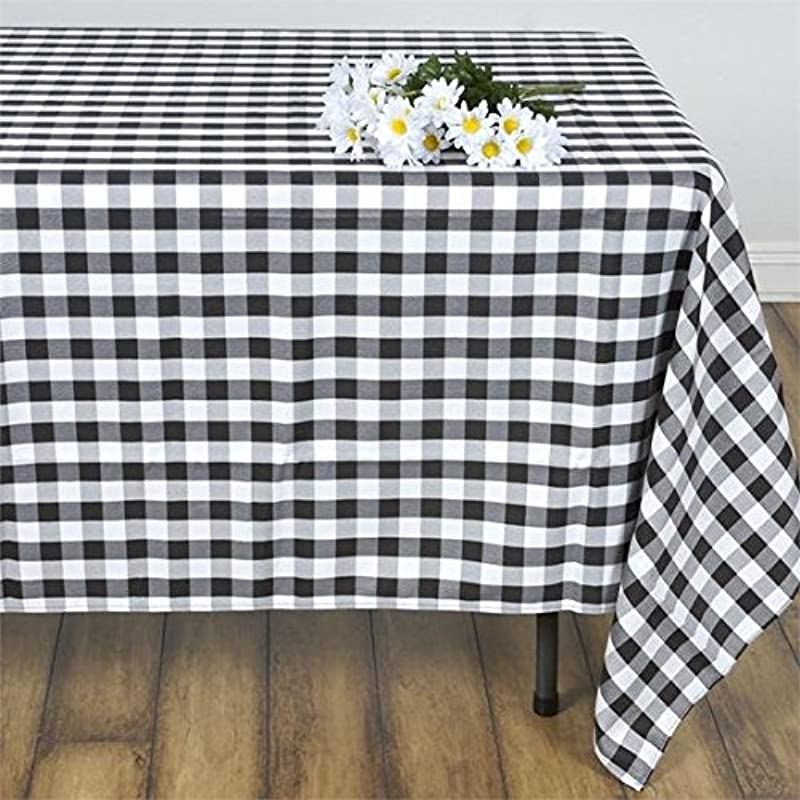 Lovemyfabric Gingham Checkered 100 Polyester Tablecloth For Holiday Party Family Dinner 50 X 70 Black
