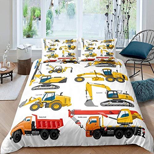 Evvaceo - Copripiumino e federa, modello di camion trattore, giocattolo creativo moderno, 200 cm x 200 cm, stampa 3 pezzi