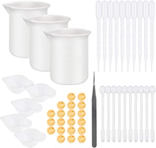 BTSD-home 49pcs Resin Mixing Tools 3pcs Silicone Measuring Cups 5pcs Silicone Mixing Cups 10 Plastic Dropping Pipettes 10p...