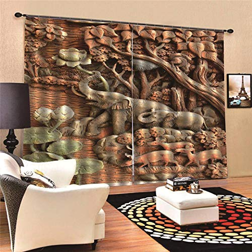 JcurtainC gordijnen, ondoorzichtig, warmte-isolerende houtsnijwerk, gordijnen voor slaapkamer, woonkamer, kinderkamer, decoratief gordijn, raamdecoratie